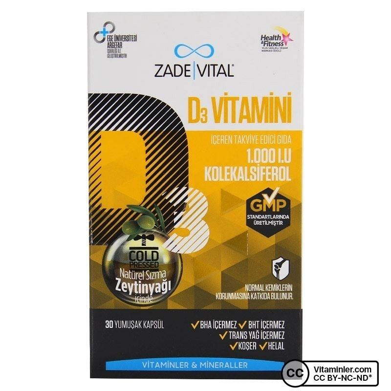 Zade Vital D3 Vitamini 30 Kapsül