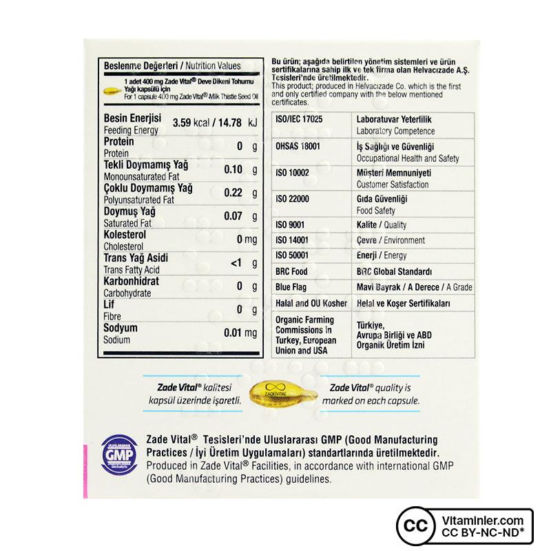 Zade Vital Deve Dikeni Tohumu Yağı 400 Mg 25 Patlatılabilen Kapsül
