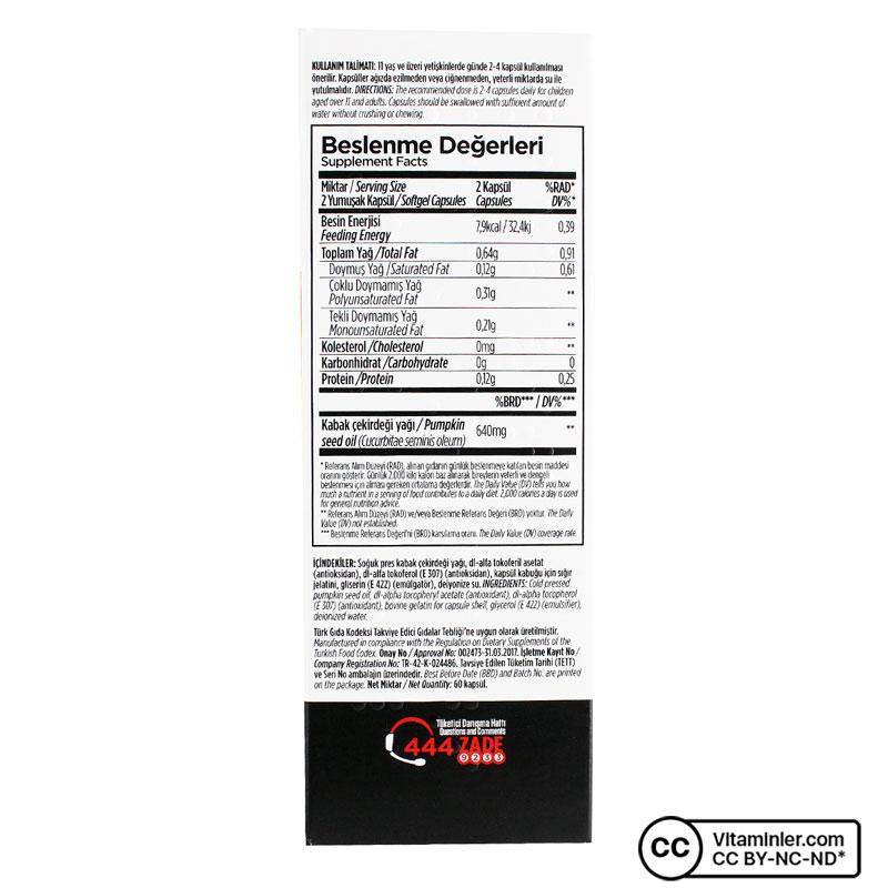 Zade Vital Kabak Çekirdeği Yağı 320 Mg 60 Kapsül
