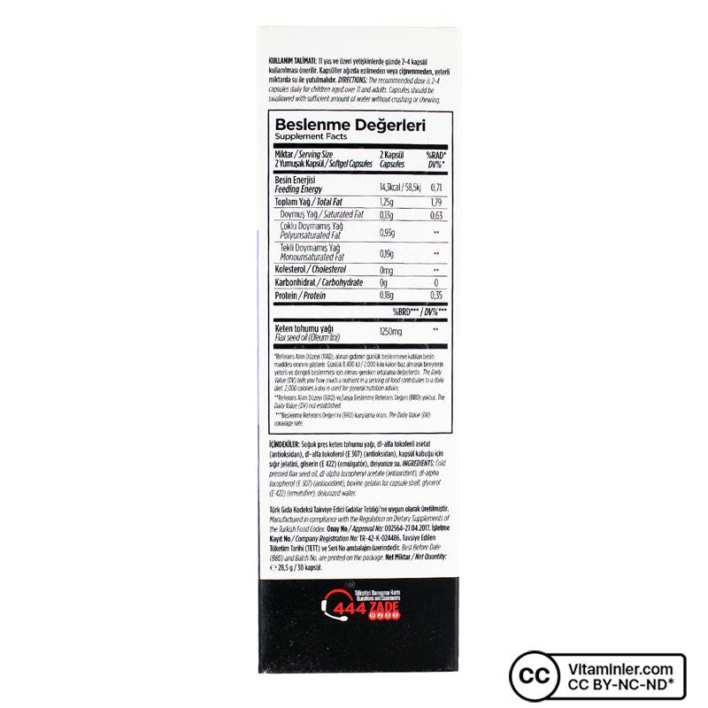 Zade Vital Keten Tohumu Yağı 625 Mg 30 Kapsül