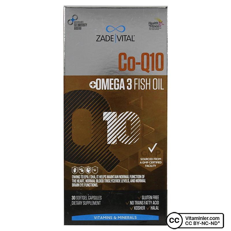 Zade Vital Koenzim Q10 & Omega 3 1000 Mg 30 Kapsül