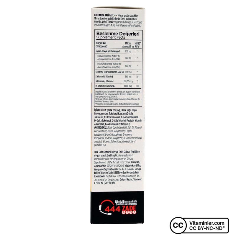 Zade Vital Miniza Omega 3 ve Çörek Otu Yağı 150 mL