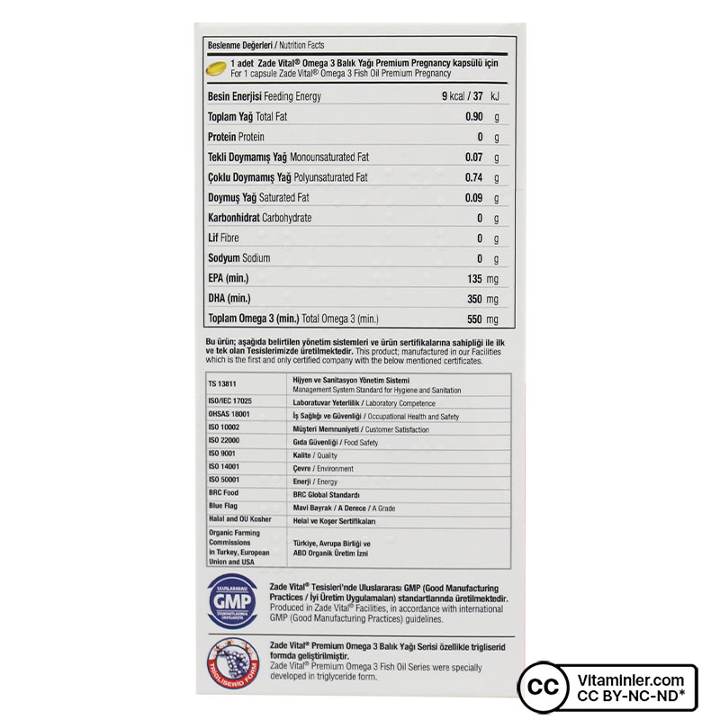 Zade Vital Omega 3 900 Mg Hamileler İçin 50 Kapsül