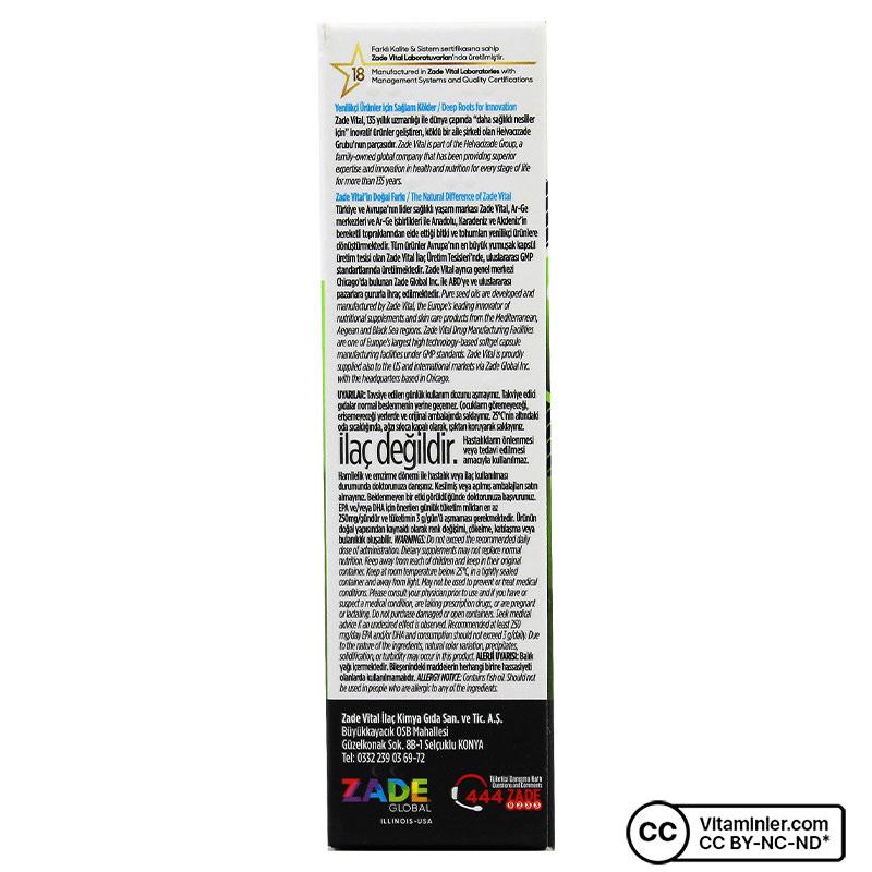 Zade Vital Omega 3 Balık Yağı 500 Mg Çocuklar için 30 Kapsül