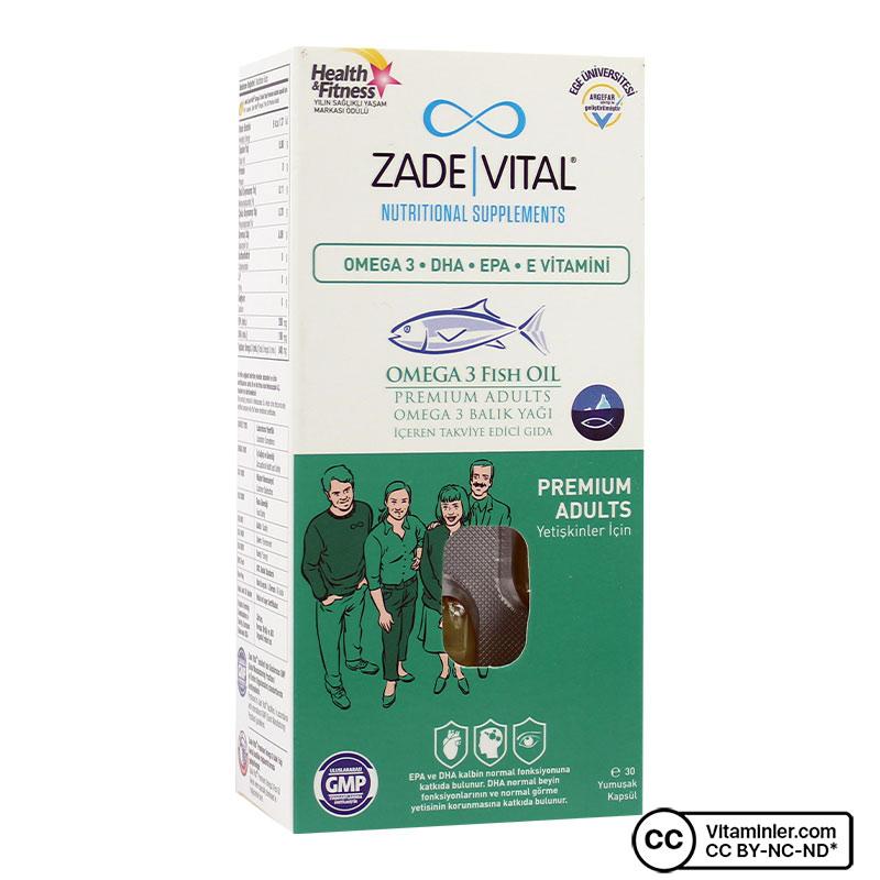 Zade Vital Omega 3 Balık Yağı 900 Mg Yetişkinler icin 30 Kapsül