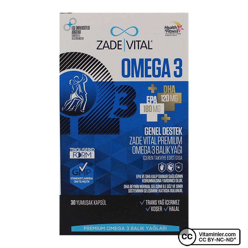 Zade Vital Omega 3 Balık Yağı Premium 500 Mg 30 Kapsül