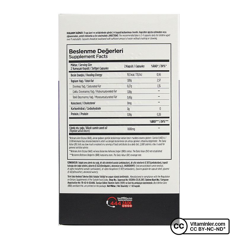 Zade Vital Çörek Otu Yağı 900 Mg 60 Kapsül