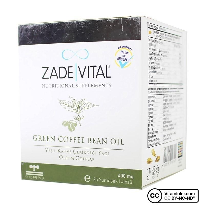 Zade Vital Yeşil Kahve Çekirdeği Yağı 400 Mg 25 Patlatılabilen Kapsül