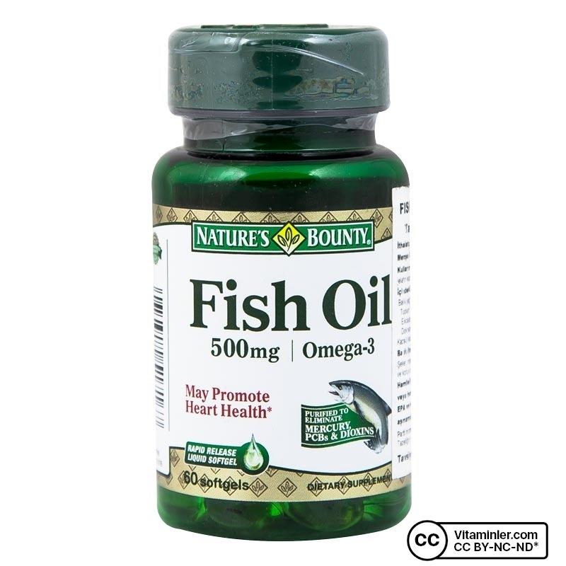 Nature's Bounty Fish Oil 500 mg 60 Kapsül