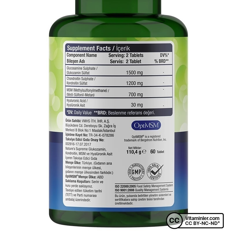 Nature's Supreme Glucosamine Chondroitin MSM + Hyaluronic Acid 60 Tablet