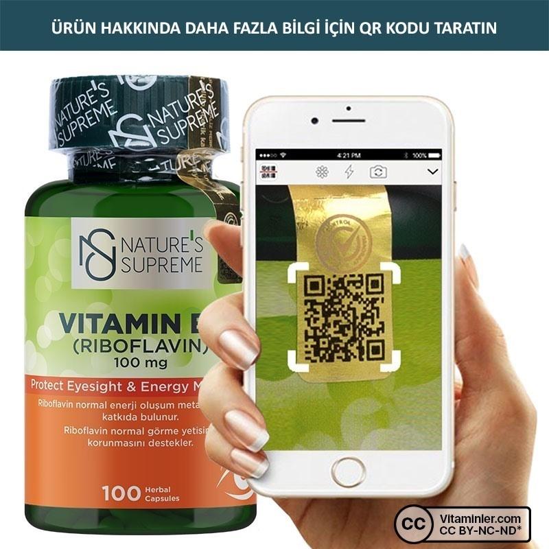 Nature's Supreme Vitamin B2 100 Mg 100 Kapsül