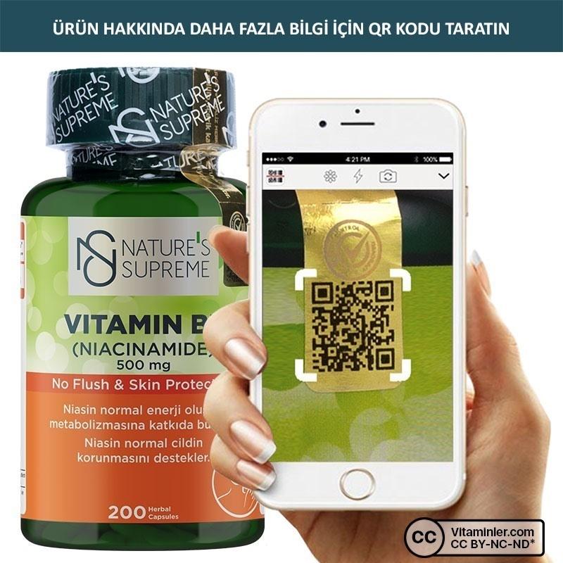 Nature's Supreme Vitamin B3 500 Mg (No Flush) 200 Kapsül