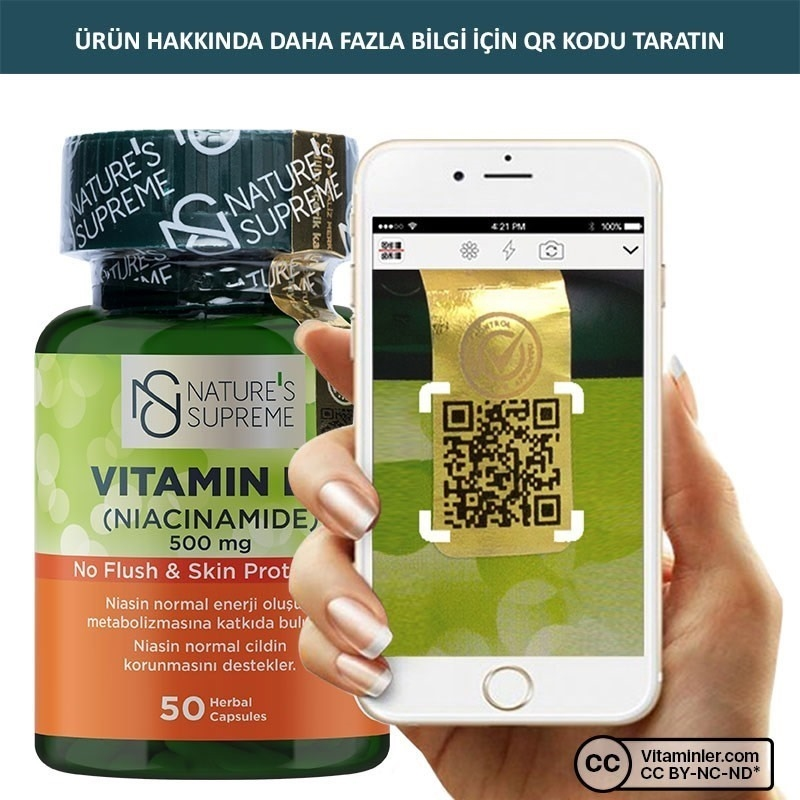 Nature's Supreme Vitamin B3 500 Mg (No Flush) 50 Kapsül