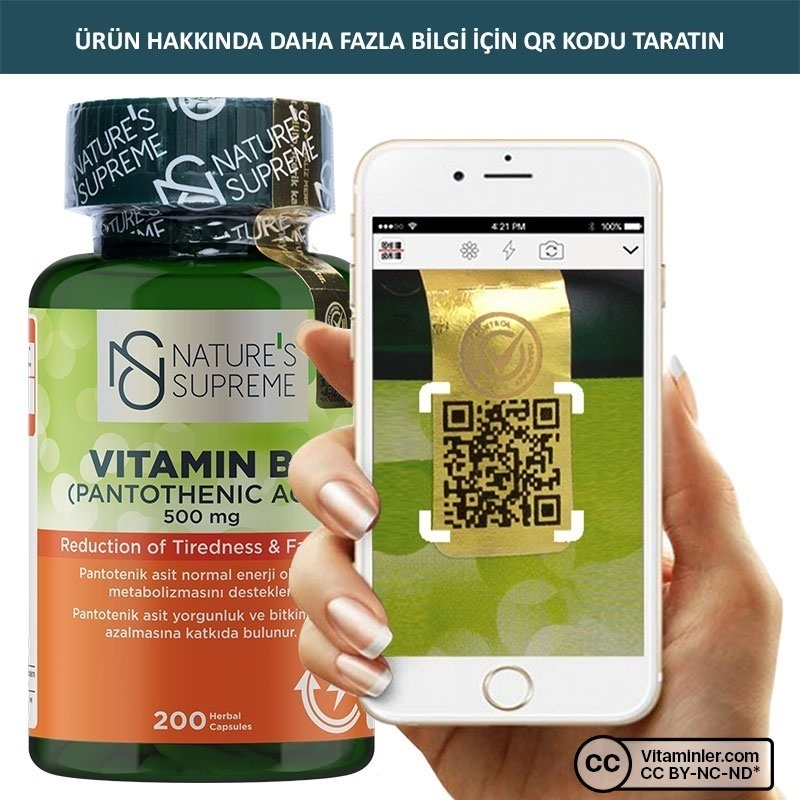 Nature's Supreme Vitamin B5 500 Mg 200 Kapsül