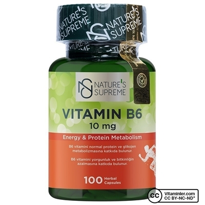 Nature's Supreme Vitamin B6 10 Mg 100 Kapsül