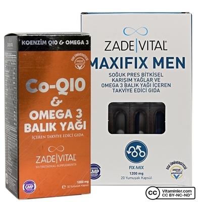 Zade Vital Koenzim Q10 & Omega 3 + Maxifix Men Seti