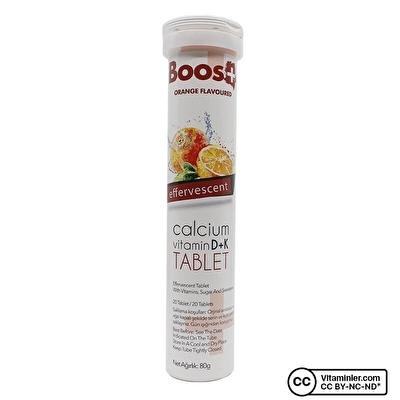 Boos+ Kalsiyum Vitamin D + K 20 Efervesan Tablet