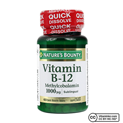 Nature's Bounty Vitamin B12 Methylcobalamin 1000 Mcg 60 Dilaltı Tableti