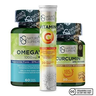 Nature's Supreme Curcumin + Omega 3 + Vitamin C Kombinasyonu