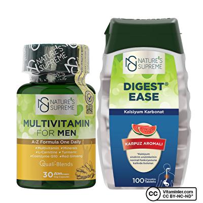 Nature's Supreme Multivitamin for Men 30 + Digest Ease 100 Tablet Ramazan Seti