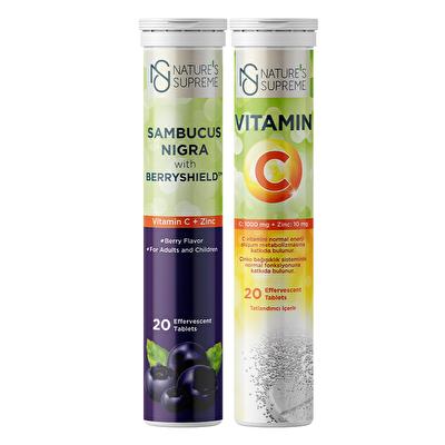 Nature's Supreme Sambucus Nigra + Vitamin C Çinko Efervesan Seti