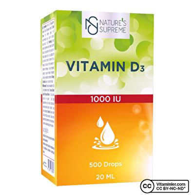 Nature's Supreme Vitamin D3 1000 IU 20 mL Damla