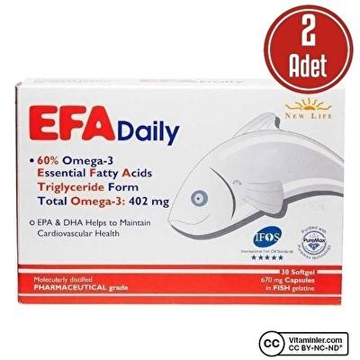 New Life Efa Daily Omega 3 30 Kapsül 2 Adet